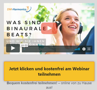 Frau mit Kopfhörern - Einladung zum Info Webinar