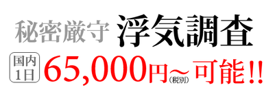 秘密厳守 浮気調査 国内1日 65,000円〜可能