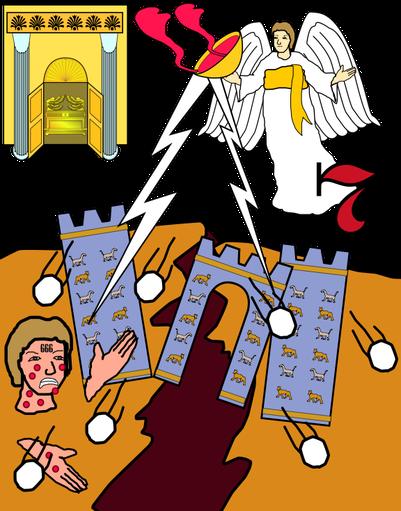 Apocalypse 16: La grande ville fut divisée en trois parties et les villes des nations s'écroulèrent. Dieu se souvint de Babylone la grande pour lui faire boire la coupe du vin de son ardente colère.