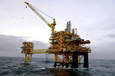 Mærsk A/S platform ved Tyra Vest feltet i Nordsøen