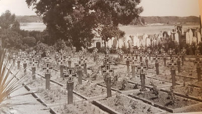 The southern Block of the German War Cemetery in 1945, Note the civilian graves at the back.