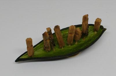 Ahnenboot: Dauschote  hellgrün, Länge 15 cm, 35 € verkauft
