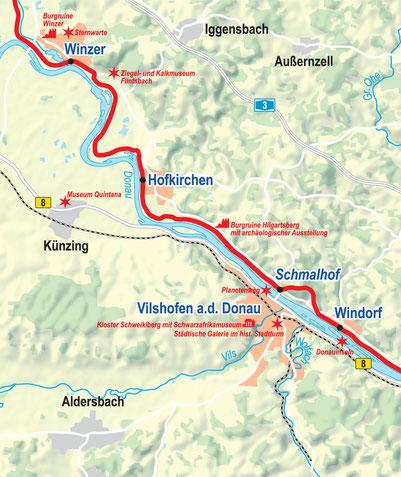 Vergrößerbare Karte Etappe Winzer bis Windorf