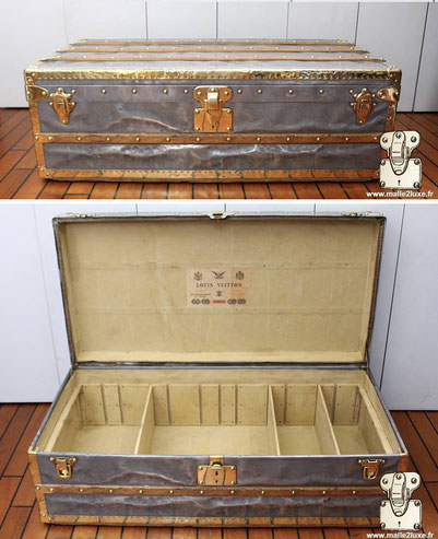 Louis Vuitton Zinc and Brass cabin trunk  Year: 1889  Brass borders and corners   Lock:  patented - 3 grooves Initials: CB  Special feature: Compartmentalized interior   Dimensions 52 cm x 101 cm x 34 cm