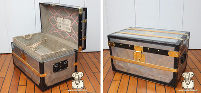 Small Louis Vuitton trunk in zinc Year: 1871   Special feature: it is the oldest zinc trunk that we know of. Black lacquered steel border  Lock: Variure  Dimension: 35 cm x 37 cm x 62 cm