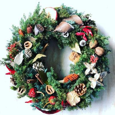 11月 東京 表参道1dayレッスン『フレッシュグリーンのクリスマスリース(35cm)』作り