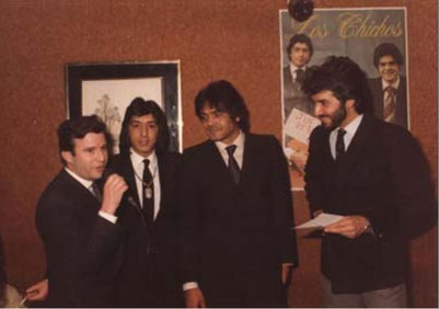Eduardo G, Jero y Emilio presentando su elepé en la radio 1981