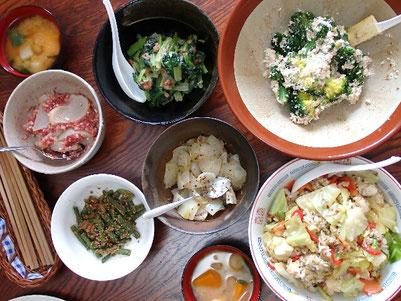 和え衣5品全部と、ミックス蒸し野菜のチャーハン。野菜がメインディッシュです❤