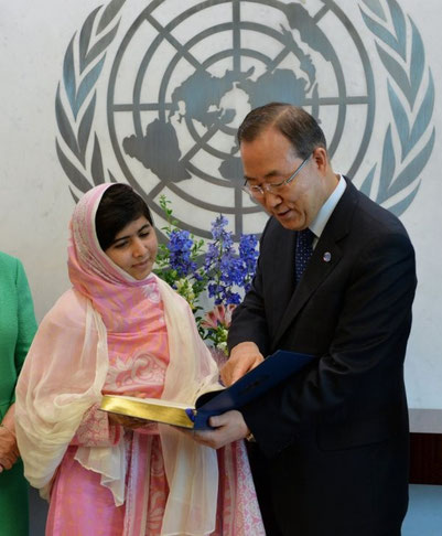 2013.07.12 Miss Malala Yousafzai and Mr. UN Secretary General, Ban Ki-moon