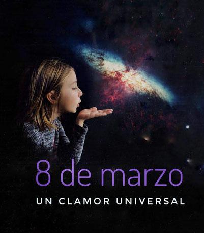 8M, 8 de marzo, niña, galaxia, collage digital, velmock
