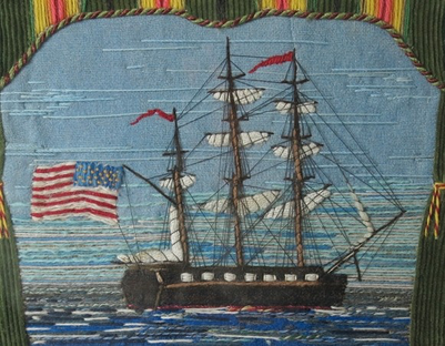 19th century folk art sailors woolwork from barbaraleighantiquefolkart.co.uk