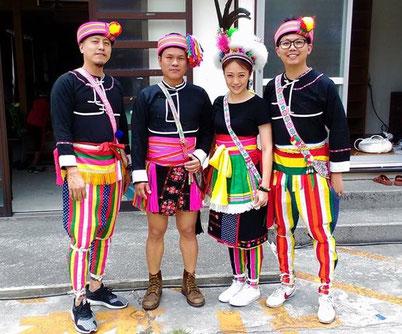 アミ族の民族衣装。2018年5月Asian Roots Trip@普天間山神宮寺(沖縄県宜野湾市)にて