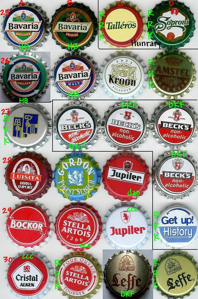 European beer caps, row 25-30.