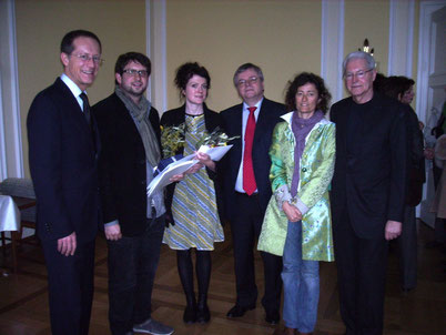 Award ceremony 13th March 2011 in Wiesbaden, f. l. to r. State Minister Axel Wintermeyer, Sam Brown, Annemarie Woods, Bernd Loebe, Barbara Minghetti, Armin Kretschmar