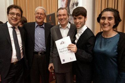 Bei der Preisverleihung am 7. April 2013 in Wien v.l.n.r. Serge Dorny, Armin Kretschmar, David Pountney, Rafael R. Villalobos, Marta Delatte