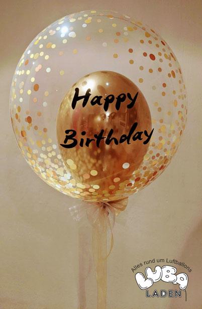 Ballon in Konfettiballon HBD Happy Birthday mit Ballongas gefüllt