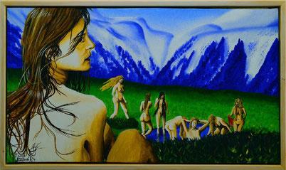 Bild:Badende,Frauen,Akt,nude,nackt,Frühling,Berge,Schnee,Doppelbild,Weiher,Busch,d-t-b.ch,d-t-b,David Brandenberger,Biber,dave the beaver,Ölbild,Malerei,Ölfarbe,