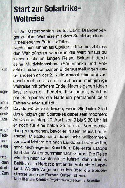 Bild:Klosterser Zeitung,Zeitung,Media,David Brandenberger,d-t-b.ch,d-t-b,Zeitungsartikel,