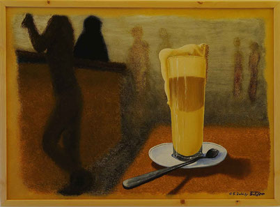 Bild:Latte Macchiato,Kaffee,Schaum,Rahm,Doppelbild,Frau,Akt,Bar,d-t-b.ch,d-t-b,David Brandenberger,Biber,dave the beaver,Ölbild,Malerei,Ölfarbe,