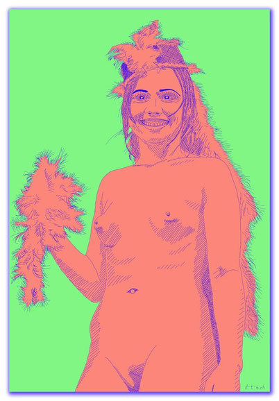 Digital Art,0012,Digitalart,Digitalpainting,Digitaldrawing,Woman,Nude,Feather,Hat,Girl,Smile,Sexy,Minimalistic,Ramona,David Brandenberger,d-t-b.ch,