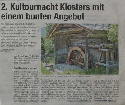 Bild:2.Kultournacht Klosters,d-t-b,d-t-b.ch,Pressevorschau,Klosterser Zeitung,
