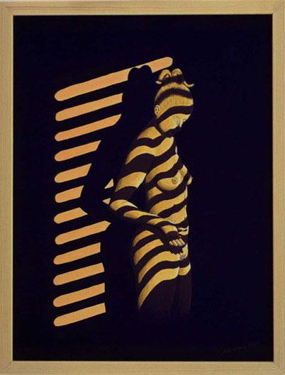 Bild:Dawson,City,Lights,Licht,Strassenlampe,Leuchte,Jalousie,Schatten,Frau,Akt,Kanada,Zebra,d-t-b.ch,d-t-b,David Brandenberger,Biber,dave the beaver,Ölbild,Malerei,Ölfarbe,