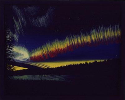Bild:Rainbow,Night,Regenbogen,Nacht,Nordlicht,Moon,Lake,Alaska,dreifarbig,See,grün,rot,gelb,d-t-b.ch,d-t-b,David Brandenberger,Biber,dave the beaver,Ölbild,Malerei,Ölfarbe,