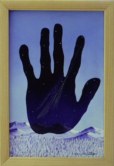 Bild:Touch,night,Berührung,Nacht,Schnee,Berge,Landschaft,Tag,Hand,Winter,Magritte,Nordlicht,d-t-b.ch,d-t-b,David Brandenberger,Biber,dave the beaver,Ölbild,Malerei,Ölfarbe,