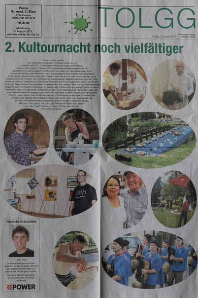 Bild:2.Kultournacht Klosters,d-t-b,d-t-b.ch,Presse,Klosterser Zeitung,