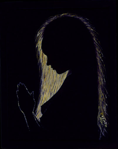 Bild:Evening,Prayer,Abend,Gebet,Frau,Gegenlicht,Blond,Haar,Silhouette,Akt,Soul,Seele,naked,Nackt,d-t-b.ch,d-t-b,David Brandenberger,Biber,dave the beaver,Ölbild,Malerei,Ölfarbe,