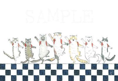 猫舞伎ポストカード『かっぽれ、にゃっぽれ』