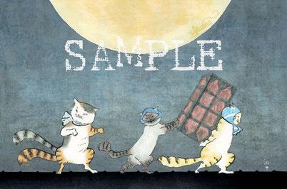 猫舞伎ポストカード『鼠小僧三兄弟』