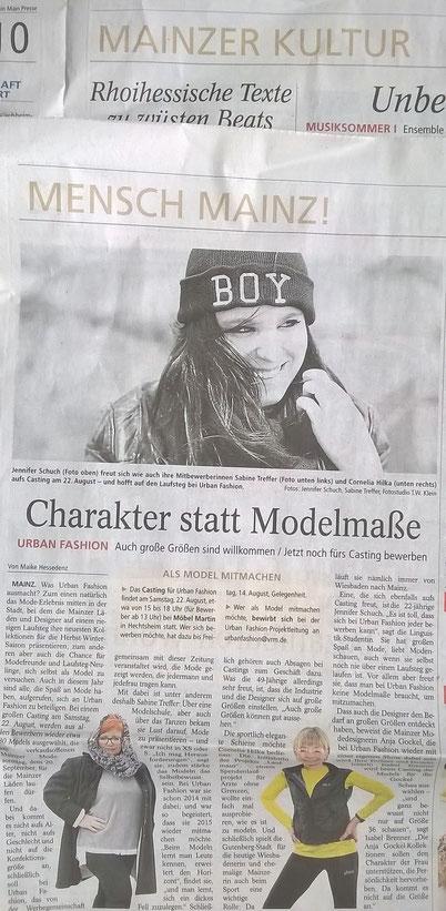 In der Mainzer Allgemeinen Zeitung (2015) eins meiner Models mit einem Foto von mir.