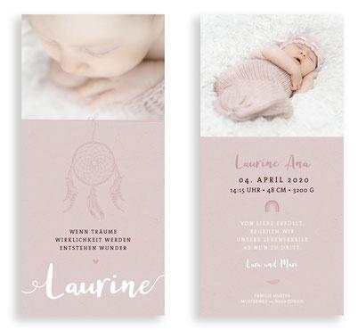 Geburtskarte Geburtsanzeige Schweiz kartendings.ch Machen Traumfänger Federn