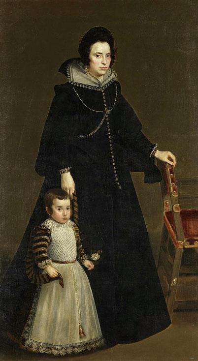 Diego Velázquez retrata al matrimonio Dña Antonia de Ipeñarrieta y Galdós y su hijo D Luis en 1632.öleo sobre lienzo 215x110cm. Museo del Prado.