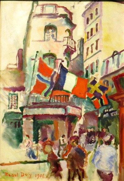 """R.Dufy,14 de julio,El Havre 1906.Óleo sobre lienzo.Washington National Gallery.Influencia de Poussin y Claudio Lorena en el paisaje, moderniza los fragmentos """"a su manera"""" con estilo propio,colorista nato y paisajista nato."""