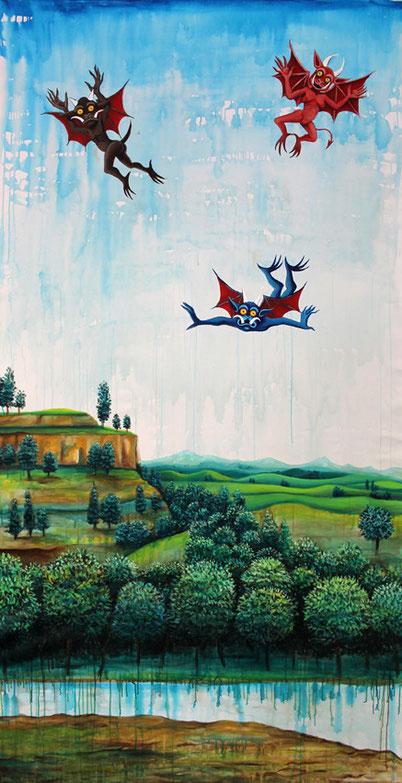 """""""Trois Petits Diables""""/ acrylique sur toile/ 270x150 cm / Kinder-k 2014"""