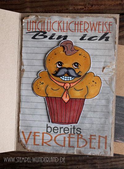 Geburstagskarte Mann Männer Birthday card for man Digi Stamps digitaler Stempel cupcake Muffin Bodybuilder handgemacht vom Stempel-Wunderland.de