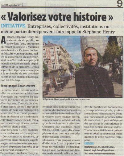 Article Le Havre Libre (jeudi 27 septembre 2012)
