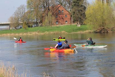 Anpaddeln auf der Weser im April 2019
