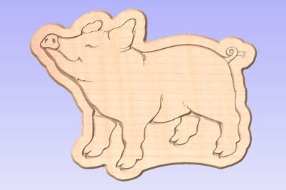Brotzeitbrett Schwein Happy klein