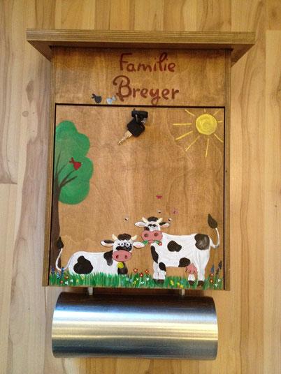 Holzbriefkasten Kühe