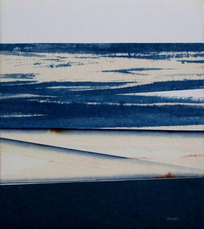 H20C08  Mojacar. Washi sur carton. 27 x 24 cm