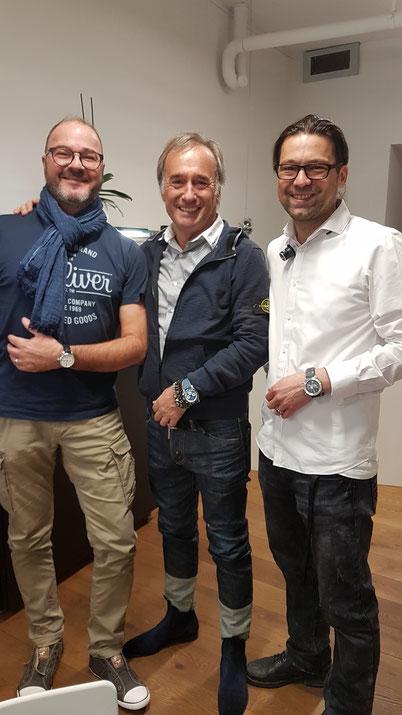 Günter Steinhart (au centre), Frank Ansorg (Watch-Lounge / Palladium) (à droite) et moi-même à la boutique Watch-Lounge à Berne