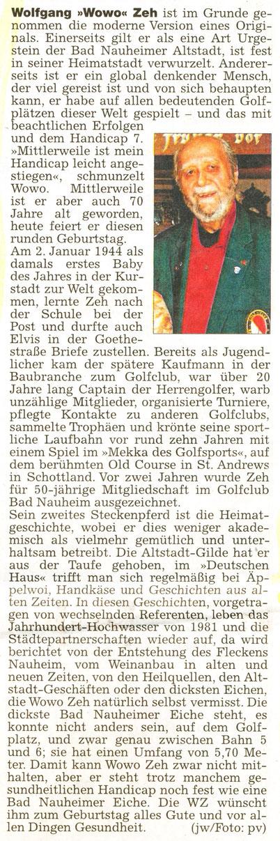Geburtstagsgruß für Gildemeister Wolfgang Zeh, Wetterauer Zeitung am 02. Januar 2014, Foto: Eberhard Bogdoll