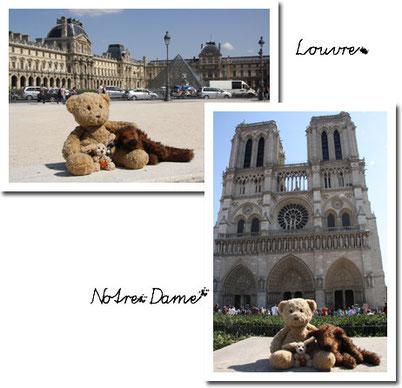 Kasimir, Cäsar und Fredi vor dem Louvre und vor Notre Dame