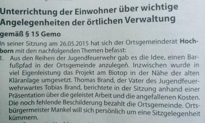 Quelle: Amtsblatt Wonnegau