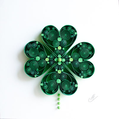 Clover, Good luck, 4 leaf clover, Shamrock, 1st anniversary, birthday gift, Paper art, Quilling, Home decoration