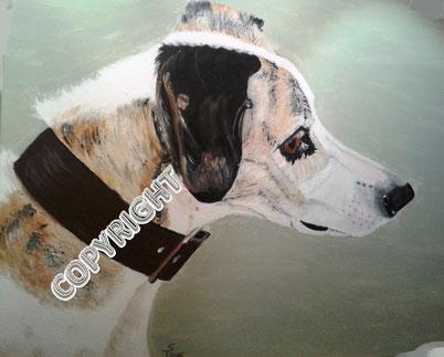 Hundeporträt, Acryl auf Leinwand, 60x80 cm