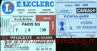 Ticket  Auxerre-PSG  1996-97